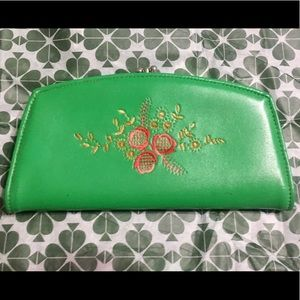Vintage Kelly Green wallet with floral stitching